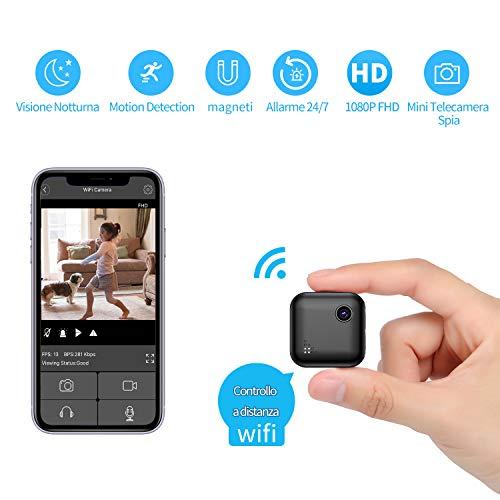 Mini Telecamera Spia Wireless Nascosta, Full HD 1080P Portatile Piccola Telecamera di Sorveglianza di Sicurezza Nascosta con Sensore di Movimento, Visione Notturna e Visione a Distanza
