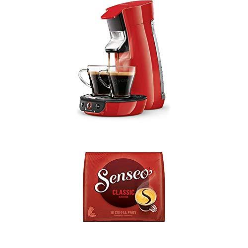 Philips Senseo Viva Cafe HD6563/80 Kaffeepadmaschine (Crema plus, Kaffee-Stärkeeinstellung) rot, mit 16 Senseo Classic Pads