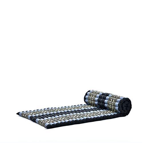 Leewadee colchoneta tailandesa Enrollable M – Colchón para masajes Grueso, futón para Dormir, Alfombra de kapok, 200 x 76 cm, Azul