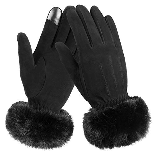 OZERO - Guanti invernali da donna, in pelle, per equitazione Nero XL