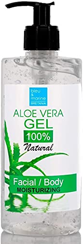 bleu & marine Bretania Gel de Aloe Vera 100% Natural. Procedente de Canarias. Excelente hidratante Rostro Cuerpo Acondicionador Cabello Depilación Afeitado. Con dosificador (500 ml)