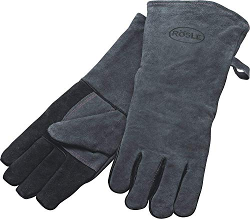 RÖSLE Grillhandschuhe, Hochwertige Lederhandschuhe zum Schutz vor Verbrennungen, Leder, Universalgröße 24/XL, grau/schwarz