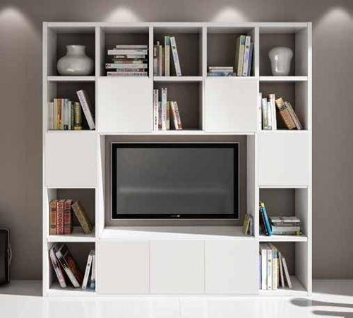 Legno&Design Meuble mural avec étagère pour TV, bibliothèque, blanc frêne 20 éléments 7 portes