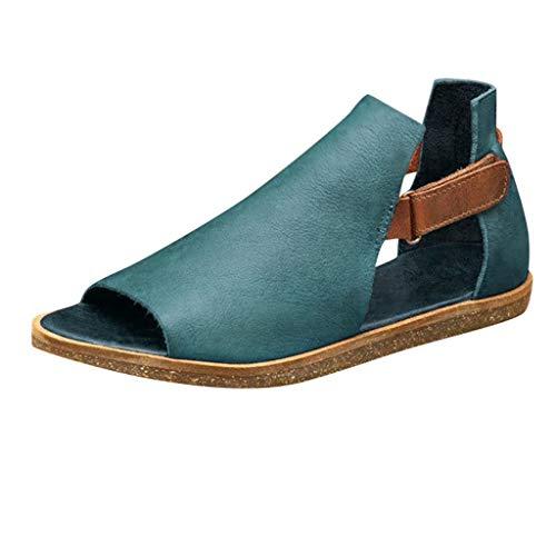 Sandalias Planas para Mujer Sandalias De Boca De Pez Huecas Vintage De Verano Zapatos Romanos con Suela Suave Antideslizante Zapatillas De Playa Casuales De Talla Grande 2020 Nuevo(Verde,41EU)