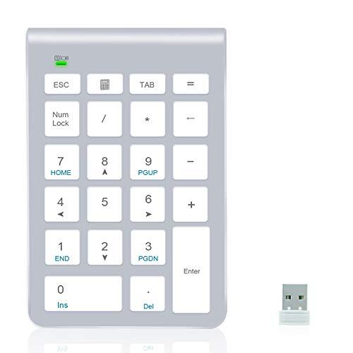 Alcey Teclado numérico inalámbrico, 22 Teclas con Receptor Mini USB 2.4G para iMac, MacBooks, PC y portátiles – Silver