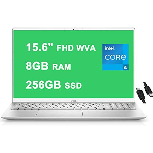 "Flagship 2021 Dell Inspiron 15 5000 5505 Laptop 15.6"" FHD WVA Display 11th Gen Intel Quad-Core i5-1135G7 8GB RAM 256GB SSD Fingerprint Backlit Keyboard USB-C MaxxAudio Win10 Silver + iCarp HDMI Cable"
