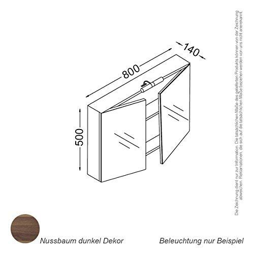 Kzoao Spiegelkast 80 cm Walnoot