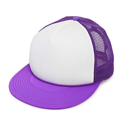 Flat Billed Trucker Cap with Mesh Back M L XL Adjustable Hat in Neon-Purple-White