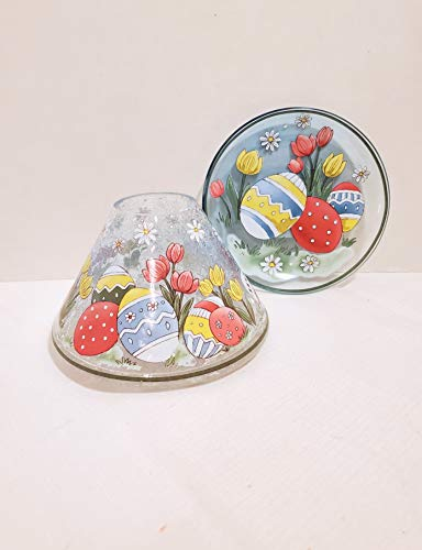 Yankee Candle New Easter Egg Tulip Flowers Crackle Jar Candle Shade Topper & Tray Plate 2pc SetSpring Accent