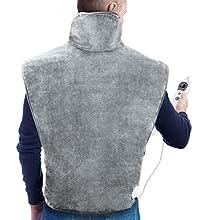 Almohadilla Eléctrica Térmica con Tecnología de Calentamiento Rápido y 6 Niveles de Temperatura, 60 * 90 cm Manta Electrica para el alivio del dolor de espalda