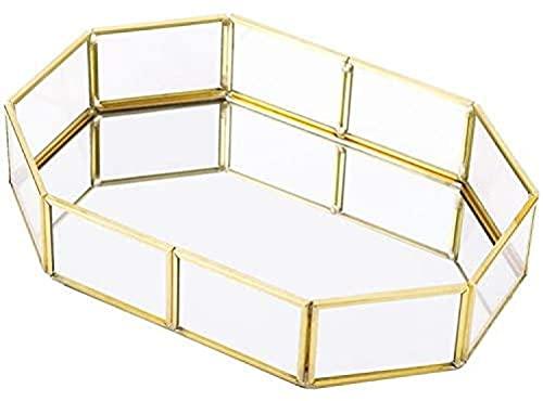 LUOYAO Caja De Almacenamiento De Cosméticos (Bandeja De Cristal con Espejo, Organizador De Joyas, Placa Decorativa De Mesa para Baño, Dormitorio, Sala De Estar, Dorado) -Small