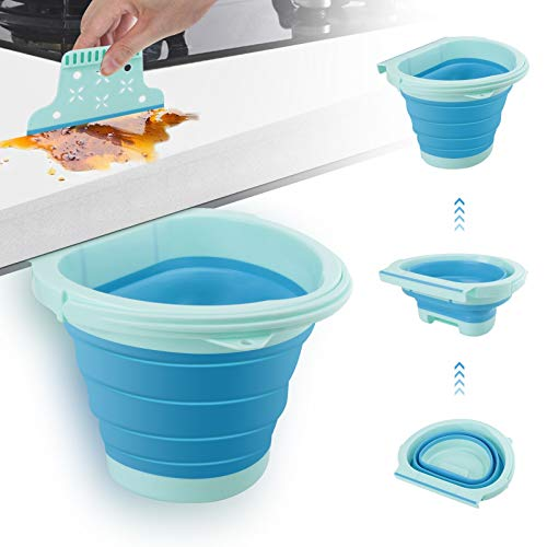 Eleganted Cubos de Basura Contenedor Colgante para Cocina Plegable 4L Bote de Basura Basurero Extraible para la Cocina, Dormitorio y Coche (Azul)