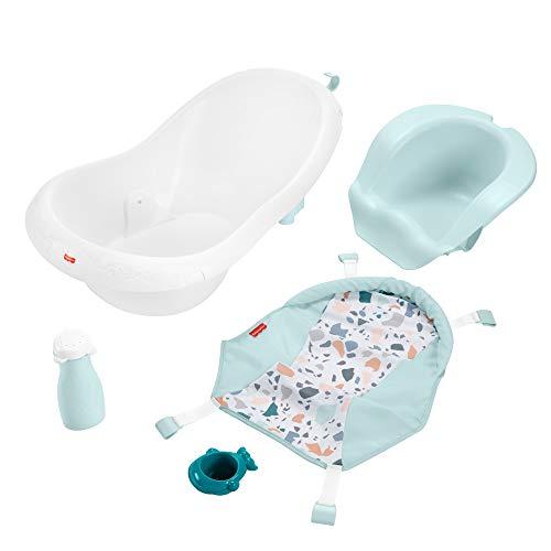 Fisher-Price Baignoire Évolutive pour bébé avec hamac et siège, coloris Terrazo, dès la naissance, GWD51