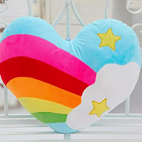 Xiaoahua Peluche a Forma di Cuore Arcobaleno Cuscino Stella Cuore Ricamato Peluche Cuscino di tiro Divano Sedia Decor Bambini Amici Regalo 40 * 35 cm starembroidery
