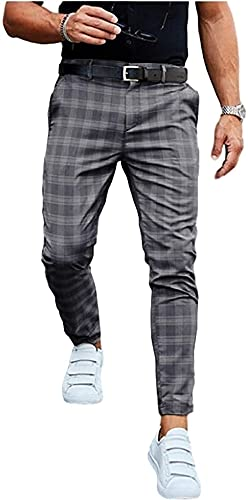 LIUPING Pantalones Chinos Ajustados a la Moda para Hombre, Pantalones Largos con Estampado a Cuadros, Pantalones de Tela, Pantalones para Hombre, Pantalones de Negocios elásticos