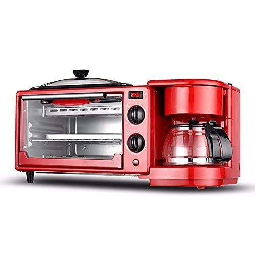 HYCy Electrodomésticos de Cocina pequeños Máquina de Desayuno 3 en 1, Mini Horno multifunción, Mini cafetera de Goteo, Tostadora de sartén, Café, Desayuno, Té de la Tarde