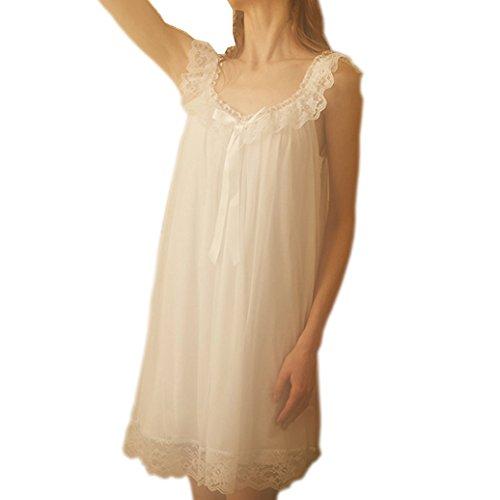 Women's Sleepwear Lace Nightdress Victorian Vintage Nightgown Loungewear Pajamas (White, Medium)