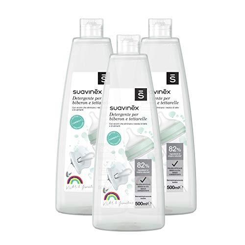 Suavinex 307575 Multipack Detergente per Biberon e Tettarelle senza Profumo o Residui, 3x500 ml, trasparente