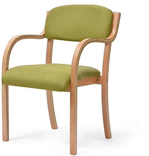YLCJ kruk voor slaapkamer, antislip mat van hout, vergaderruimte, ontvangststoel, bureaustoel, stoelbekleding van stof, ademend, reiniging afneembaar (kleur: blauw) Groen