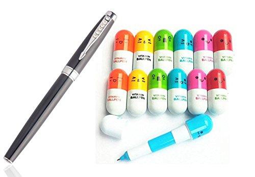 Partstock(TM) 12PCS Ballpoint Pen, Vitamin Pill, Novelty Pen, Size12x2.4cm, Gift Pen,Multicolor,Ink Color:Blue (12PCS Vitamin Pill, 1)
