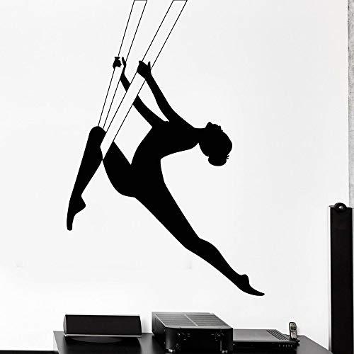 Yoga aéreo Danza Gimnasia rítmica Deporte Chica Bailarina Etiqueta de la pared Vinilo Arte Calcomanía Dormitorio Sala de estar Sala de baile Estudio de yoga Club Oficina Decoración para el hogar