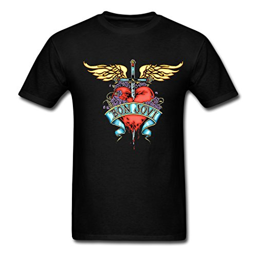 Gerlernt Cool Bon Jovi Band Love The Wings of The Angel Printed Men Cotton Short Sleeve T Shirt
