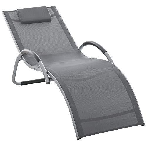 Outsunny Bain de Soleil transat Design Contemporain avec Appui-tête Grand Confort léger Aluminium textilène 160 x 60 x 65 cm Gris