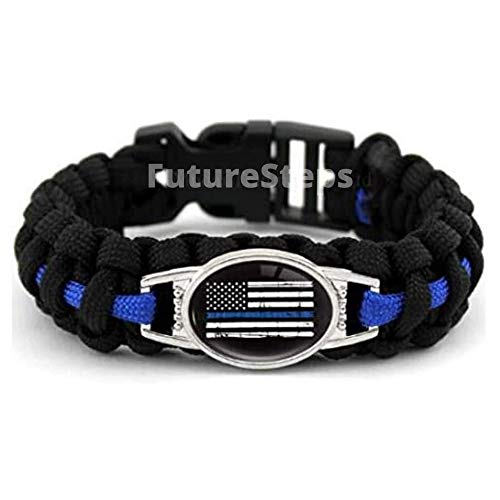 Police Para-cord Survival Bracelet | Police Thin Blue Line (Large 9 in 1/4 inches) 10% of Sales Donated to Police Department of Your Choice | One Piece | Black and Blue