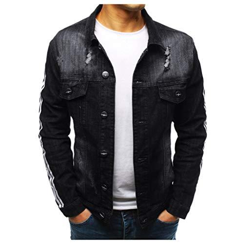 Aoogo Herren Langarm Jacke Feste Farben für Freizeit mit Revers Männer Langarm Loch Revers Tasche Mode Jeansjacke Retro Top Bluse