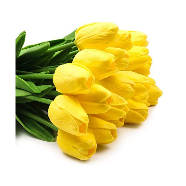 Hiveseen 10 Pcs Tulipanes Artificiales, Ramo Flores Artificiales Tacto Real Decoración para Boda, Fiestas, Hogar