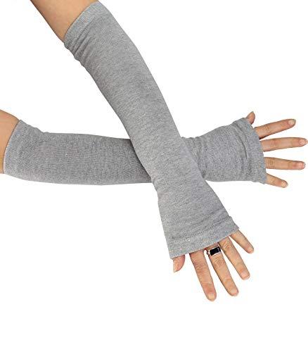 Caripe Kombi fingerlose Armstulpen Damen Beinstulpen Handschuhe Handstulpen Stulpen lang (One Size, sol-A hellgrau)