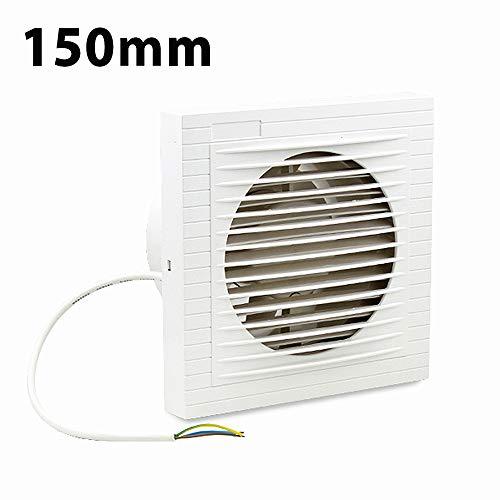 wolketon Wandlüfter Badlüfter 150 mm Ventilator Lüfter für Bad WC Küche Wandventilator Badezimmer Wand Niedrigem Energieverbrauch Weiß