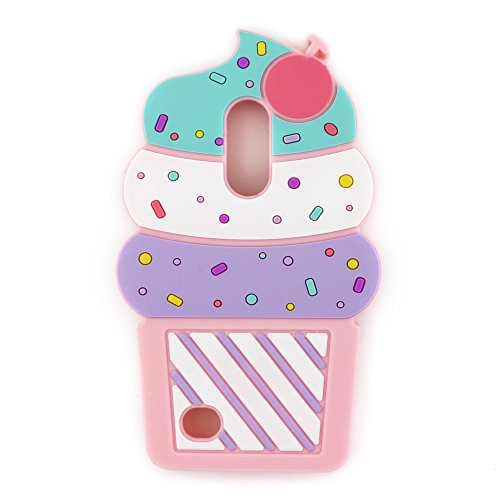 UFOTSAM Case for LG Aristo 3 2, Phoenix 3, Fortune 2, K8 2017 2018, Tribute Dynasty, Zone 4 3D Cartoon Cute Cupcakes Ice Cream Shaped Silicone Case Cover for LG Rebel 2 3, Risio 2 3, Fortune 2 (Pink)