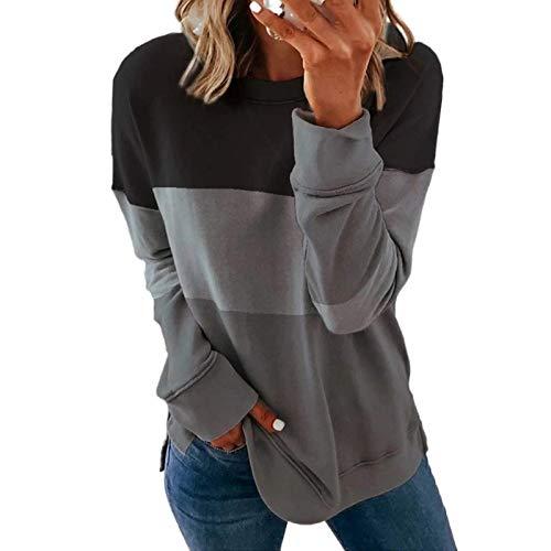 Sweatshirt Damen Casual Langarmshirt Rundhals Pulli Bluse Top Pullover Oberteile Top T-Shirt Frauen Mode lässig Langarm Druck Farbe passend schlank (M,Grau)