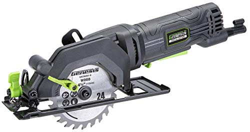 "Genesis GCS445SE 4.0 Amp 4-1/2"" Compact Circular Saw with 24T Carbide-Tipped Blade, Rip Guide, Vacuum Adapter, and Blade Wrench"