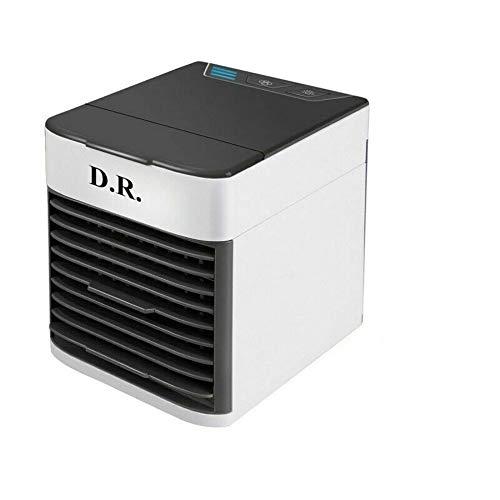 D.R. Tragbare Klimaanlage Luftkühler,Mini Luftkühler Mobile Klimageräte,Luftbefeuchter&Luftreiniger Ventilator mit USB Anschluß 3 Stufen und 7 Farben LED Nachtlicht (Weiß)