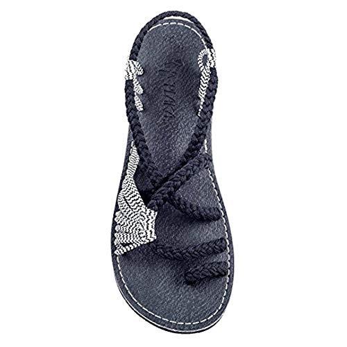 LWWOZL Sandalen Damen Sommer Flach Flip Flops Geflochtene Roman Schuhe Casual Mode Strand Hausschuhe Bequem Peeptoe rutschfest SommerschuhredWhite-40