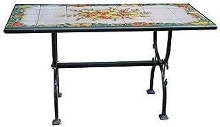 SKM Tavolo da Giardino Nero 190x90x74 cm in Alluminio e Vetro