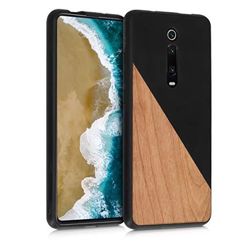 kwmobile Funda Compatible con Xiaomi Mi 9T (Pro) / Redmi K20 (Pro) - Carcasa de Madera y Cuero sintético - Cover Protector Madera Bicolor Negro/marrón