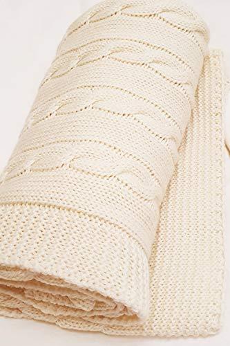 Wallaboo babydeken van 100% merinowol, knuffeldeken, kruipdeken, knuffeldeken, mooi gebreide en knuffelzachte babydeken, 90 x 70 cm, kleur: naturel beige