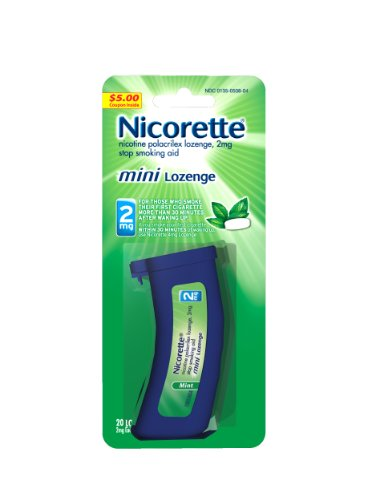 Nicorette 2 mg Nicotine Lozenges to Quit Smoking - Mint Flavored Stop Smoking Aid, 20 Count