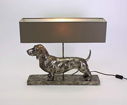 Voss Design Geniale Tischlampe Dackel Grau Silber 60cm Hund Tier Lampe Tischleuchte
