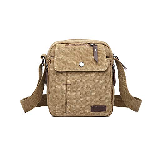Kono Men Shoulder Bags Small Canvas Messenger Travel Organizer Satchel Durable Multi-Pocket Sling Cross Body Bag Pack (Khaki)