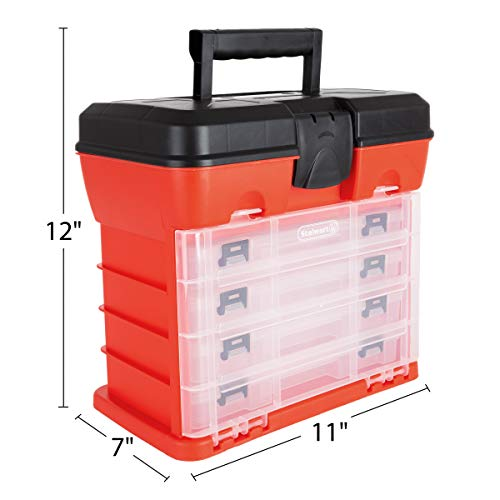 Storage and Toolbox- Durable Organizer Utility Box with 4 Compartments for Hardware, Fish Tackle, Beads, and More by Stalwart (Red) (75-3182A)