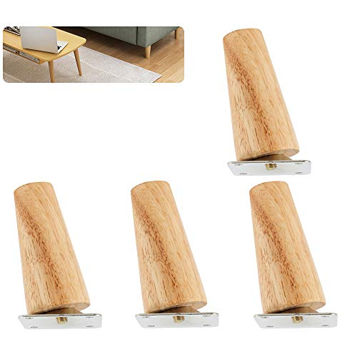Iraza Holz Tischbeine, 4 Stück Massivholz Konisch Ersatz Möbelfüße Möbelbeine mit Montageplatten & Schrauben für Sofa Bett Schrank Couch Stuhl (schräge Füße, 15 cm)