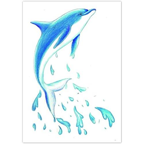 EROSPA® Tattoo-Bogen temporär - Aufkleber Delfin / Delphin - 10,5 x 6 cm