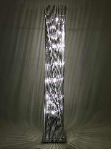 Sassy Home Cayan Tower Silver Metal Wire Twisted Tower Floor Standing LED Lamp