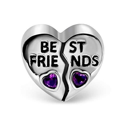 BOLENVI Best Friends - Abalorio de plata de ley 925, diseño de corazón rosa para pulseras o collares