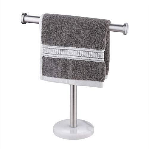 Umi. por Amazon Toallero de pie en forma de T con base de mármol para encimeras de lavabo, acero inoxidable SUS304 con acabado cepillado, BTH205S10-2