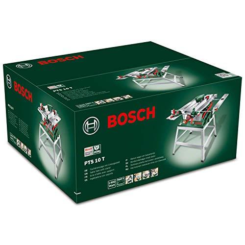 Bosch DIY Tischkreissäge PTS 10 T, Untergestell, Spaltkeil, Tischverlängerung, Winkelanschlag, Absaugschlauch, Karton (1400 W, Kreissägeblatt Nenn-Ø  254 mm, Schnitttiefe bei 90° 75 mm) - 9